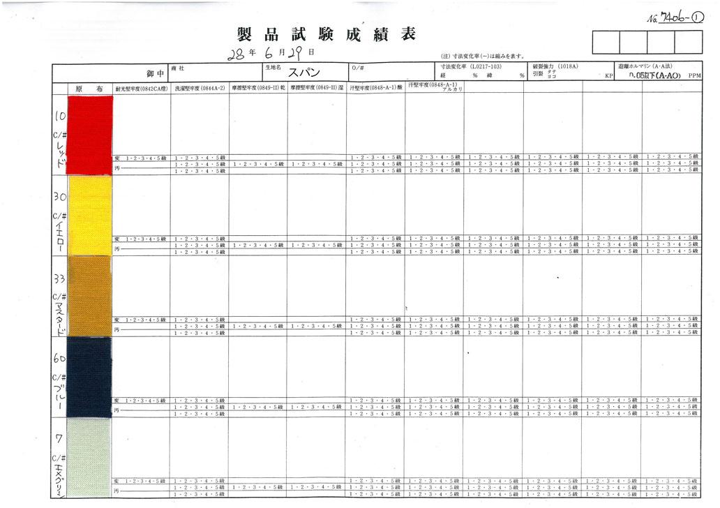 製品試験成績表 B4486(モンキーパンツ)10レッド、30イエロー、33マスタード、60ブルー、7エメラルドグリーン
