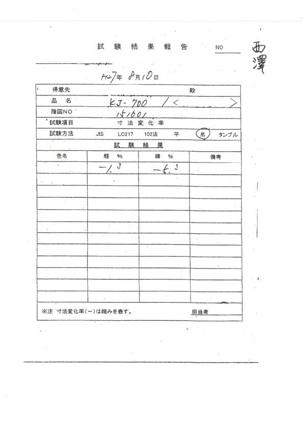 試験結果報告書 B4486(モンキーパンツ)10レッド、30イエロー、33マスタード、60ブルー、7エメラルドグリーン
